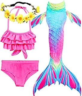 Girls Mermaid Tails for Swimming Bathing Suits Mermaid Theme Swimsuits Toddler Girls Birthday Gift for 3-12Y