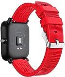 Hanyixue Correas de Relojes, Silicona Reloj Banda Wristband Accesorios Deporte para Huami Amazfit Bip Watch (Rojo)