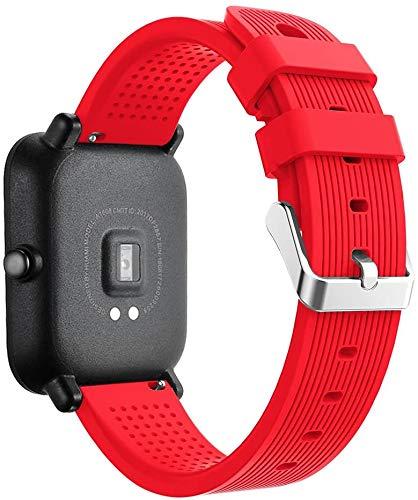 Correas Xiaomi Huami Amazfit Bip, CNBOY Deporte Suave Silicona Reloj Banda Wirstband Accesorios para Huami Amazfit Bip Watch (Rojo)