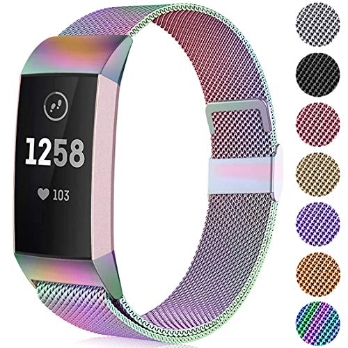 Faliogo Metall Ersatzarmband Kompatibel mit Fitbit Charge 3 Armband/Fitbit Charge 4 Armband, Einstellbare Edelstahl Ersatz Armbänder für Damen Herren, Klein Bunt