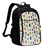 asfg Resistente a Las Manchas Insect Multifunctional Personalized Customized USB Backpack, Student School Outdoor Backpack,Travel Bag Laptop Bookbags Business Daypack.