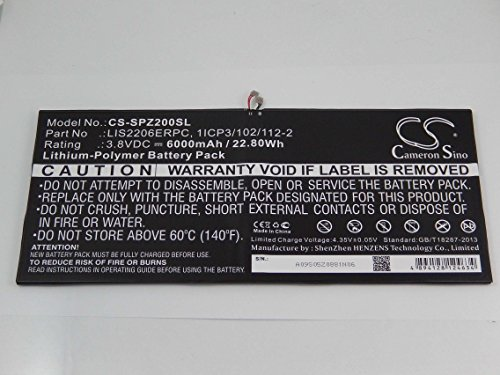 vhbw Litio polímero batería 6000mAh (3.8V) para Tablet Sony Xperia SGP511, SGP512, SGP521, SGP541, SGP551, SOT21, Tablet Z2, Tablet Z2 TD-LTE
