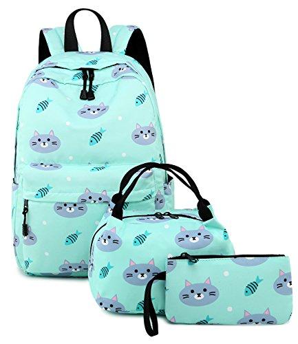 Abshoo Cute Lightweight Kids School Bookbags Cat Girls Backpacks With Lunch Bag (Cat Blue Set)