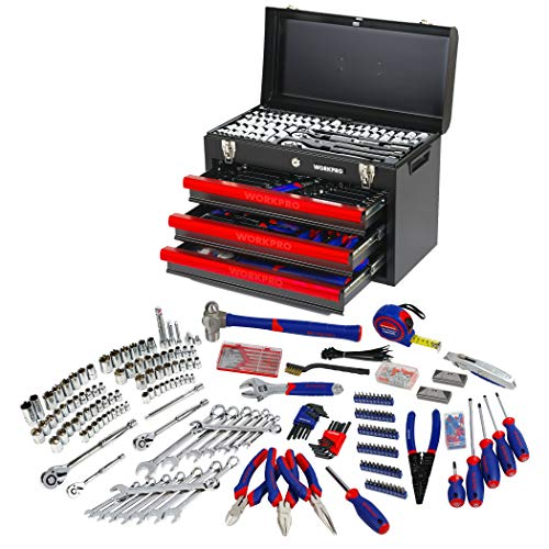 WORKPRO 408-Piece Mechanics Tool Set with 3-Drawer Heavy...