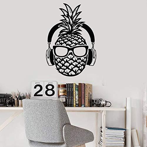 Calcomanías de pared de piña auriculares gafas de sol adolescente decoración divertida pegatinas de pared de vinilo dormitorio música aula calcomanías murales