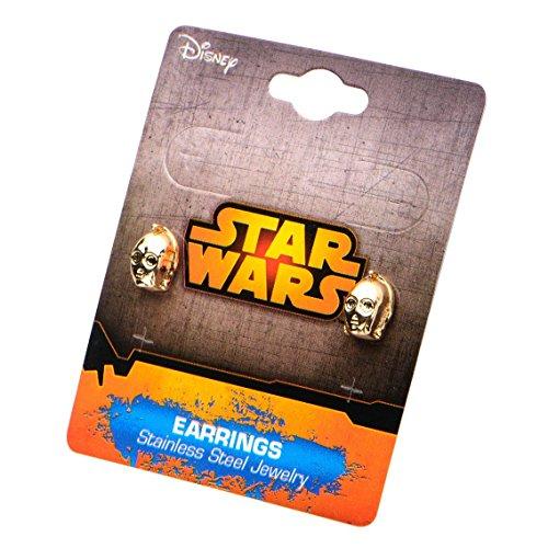 Star Wars Pendientes de Cara C3PO Acero Inoxidable Oficial Gold IP 3D