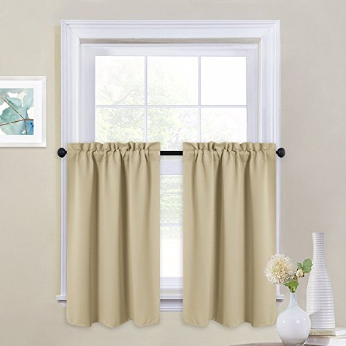 NICETOWN Short Curtain Valances for Cafe - Home Decoration Rod Pocket Tailored Tiers for Small Window (Set of 2, 29 by 36 Inches Each Panel, Cream Beige)