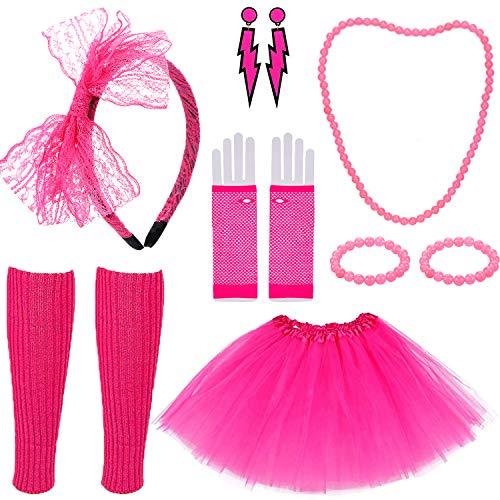 Tacobear 80er Jahre Kleidung Damen Rosa Tutu Röck 80er Erwachsene Neon Glow Halskette Armband Beinlinge 80er Jahre Netzhandschuhe Blitz Ohrringe Stirnband 80er Party Kleid Zubehör Mädchen Frauen
