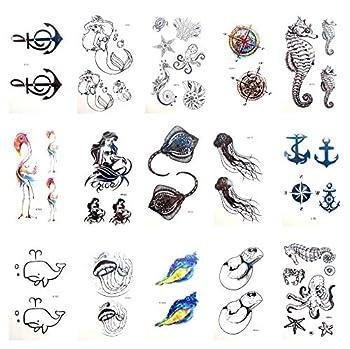 12 sheets temporary tattoo sea animal octopus shells tattoo waterproof