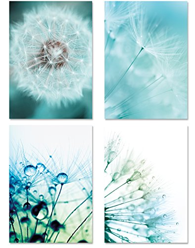 PICSonPAPER Poster 4er-Set PUSTEBLUMEN, ungerahmt DIN A4, Kunstdruck, Poster, Dekoration, Wandbild, Geschenk, Makroaufnahmen