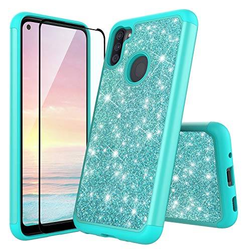 TJS Phone Case Compatible with Samsung Galaxy A11 (Not Fit Galaxy A10/A10S/A10E), [Tempered Glass Screen Protector] Glitter Bling Cute Girls Women Design Heavy Duty Hybrid (Teal)