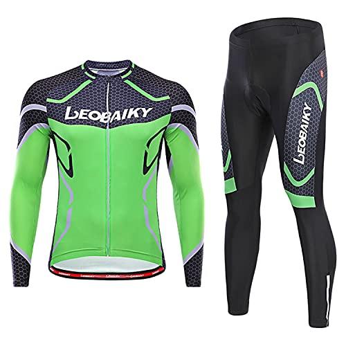 WFGZQ Completo Ciclismo Abbigliamento Set Uomo Inverno Termico Vello Maglia Ciclismo con Cuscino 3D