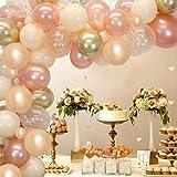 Rose Gold Balloon Garland Arch Kit Champagne Nude Balloon Arch Métallique Or Polka Dot Imprimé Ballons En Latex pour Mariage Fête De Fiançailles Décoration De Douche