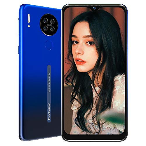 Blackview A80 Smartphone ohne Vertrag 4G, Android 10 Go 6,21 Zoll LCD Display, 13MP Quad Kamera + 5MP, 4200mAh Akku, 2GB+16GB, Face ID, Fingerabdruck Sensor, Quad-core Handy (Blau)