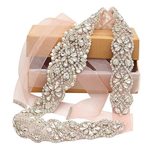 Yanstar Bridal Rhinestone Wedding Belts Hand Clear Crystal 22In Length with Blush Organza Ribbon for Bridal Gowns