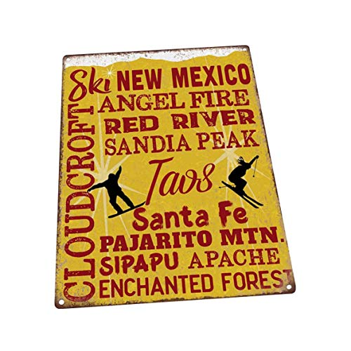 The454esa Ski New Mexico Metal Art Print for Decorating Vacation, Cabin, And Lakehouse