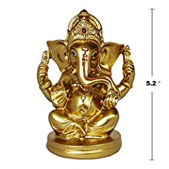 ABOUT GANESHA: The gold of whole adds red ornament, give a person simple and majesty feeling. SIZE: Measures 5.2 Height x 3.7 Width x 2.7 Depth inches. Made of Polyresin. EASY TO CARRY: Suitable for carrying around or placement in cars, desks, bedsid...