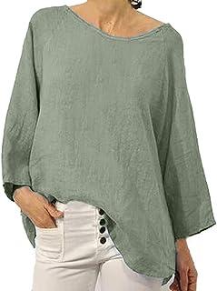 OULSEN Women Long Sleeve Crew Neck Blouse Retro Plain Tunic Tops Summer Casual Loose Shirt Long Thin T-shirt Women Plus Size