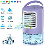 Personal Air Cooler, Mini Space Cooler, Desktop Air Conditioning Fan with 3 Wind Speeds, Compact Evaporative Cooler Air Humidifier, Clean Tank Technology, Perfect for Office Dorm Nightstand (Purple)