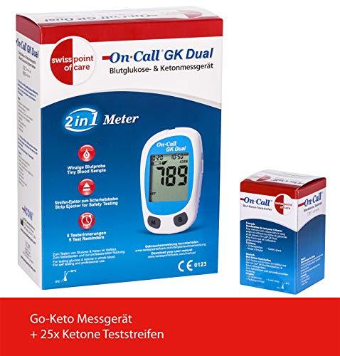 Swiss Point Of Care GK Dual Ketone Pack | 1 x GK Dual Messgerät (mmol/l) und 1 x Ketone Teststreifen (25 Stück) im praktischen Set | weiteres Messzubehör separat erhältlich