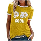 Summer Tops for Women Letter Daisy Print Patchwork Short Sleeve T-Shirt Blouse Casual Crew Neck Plus Size Tunic Top