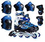 HUGGLER Inline Roller Skates for Men, Women, and Adults. 4 PU Flashing, Light Up Wheels. Protective Gear, and Accessories Included for Outdoor Recreation and Sports (Blue)