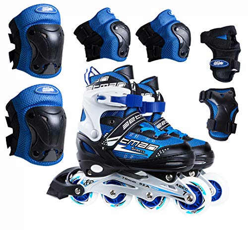 Inline Roller Skates, Inline Skates, Hockey Roller Blades Girls, Boys, Men and Women. Adjustable 4 PU Flashing, Light Up Wheels. Protective Gear Included for Outdoor Recreation and Sports (Blue)
