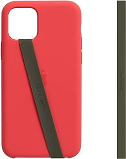 Sinjimoru シリコンスマホホルダー、iPhone、Androidなどスマホケース、スマホカバーに貼り付ける薄型スマホベルト、落下防止 片手操作できるリボン型 iPhone ホールドリング。 オリーブグレイ