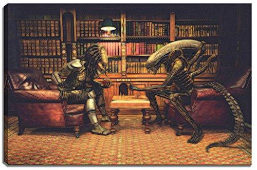 Alien vs. Predator Schach Motiv auf Leinwand im Format: 100x70 cm. Hochwertiger Kunstdruck als Wandbild. Billiger als ein Ölbild! ACHTUNG KEIN Poster oder Plakat!