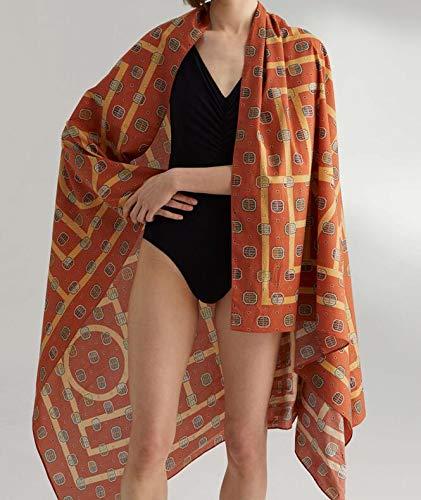 Vcnhln Bufanda con Estampado de Monograma Pareo de Playa Bufanda de algodón Toalla de Playa