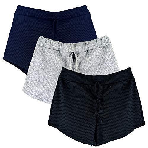 Kit 3 Shorts Canelado Fashion Feminino (Colorido, G)