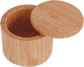 UPKOCH Bamboo Salt Box Round Spices Storage Jar Container for Home Kitchen Seasoning Herbs Small Items