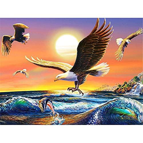 5D DIY Pintura Diamante por Número Kit Spray de pez águila para...