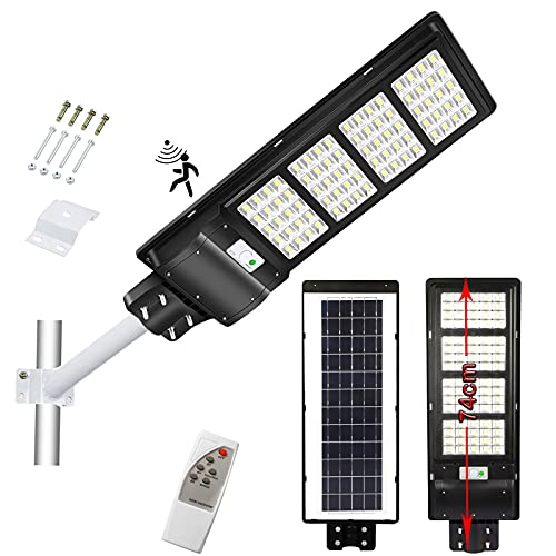 300W Solar Street Light, 15000LM Dusk to Dawn LED Solar Flood Lights Outdoor Motion Sensor, with Remote Control & Pole, Daylight White Security Solar Led Outdoor Light Lamp for Yard, Garden, Street