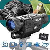 """ESSLNB 40mm Night Vision Monocular 5X Digital Infrared Monocular 1.5"""" LCD Take Photos/Videos and Playback with 16G for Hunting Security Surveilla"""