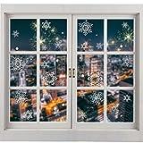 ShaSha Navidad Pegatinas de Ventana 145 Pegatinas Decorativas de Copo Pegatina Copo de Nieve Navidad PVC Pegatinas Electrostáticas para Ventanas Puertas de Cristal Escaparates (Blanco)
