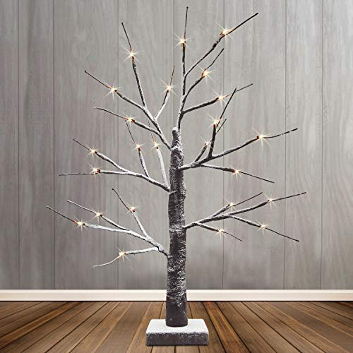LED Christmas Tree Snow Effect Miniature 60cm 24 Warm Lights Indoor Birch Tree Brown Mains and Battery Operated
