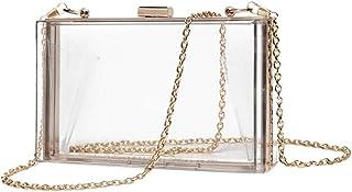 Lurrose Quadratische Umhängetasche aus Acryl für Damen, Abendtasche, Kette für Party, Bankett, durchsichtig, 18X11CM,