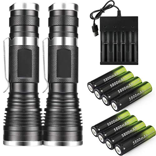 Skywolfeye 2 Packs Led 2000 Lumen 18650 Flashlight Tactical Handheld with 8Pcs 3.7v 5800mAh Rechargeable Battery and 1Pcs 4 Bay Usb Battery Charger,Ultra Bright Zoomable, 3 Modes for Indoor Outdoor