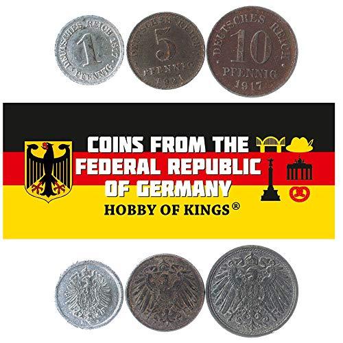 Hobby of Kings Set Mit 3 Münzen Aus Dem Deutschen Reich. 1, 5, 10 Pfennig. 1915-1922