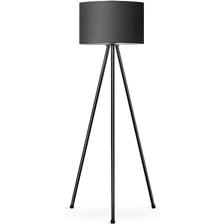 Tomons Lampadaire LED Dimmable Contemporain avec Trépied en Métal, Lampadaire de Salon et de Chambre à Coucher, Style Scandinave - Noir
