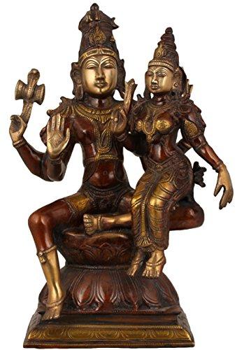 Exotic India Shiva avec sa Femme, Pārvatī, Double Chola, Taille : 6,5 x 9.7 X 15.4