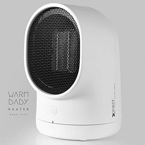 XPRIT Desktop Space Heater Cute Design Ceramic Heater w/Auto Oscillating White Heater Oscillating Space