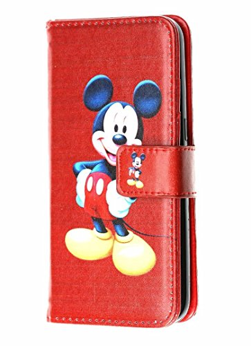 iPhone 7 Plus Wallet Case, DURARMOR Red Mickey Mouse Premium PU Leather Wallet Case with ID Credit Card Cash Slots Flip Stand Wrist Strap Cover Carrying Case for iPhone 7 Plus 5.5' Red Mickey