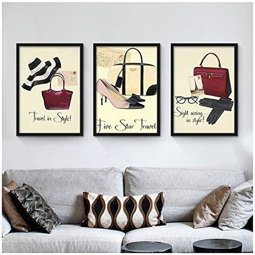 A&D Nordic decoratie rode hoge hakken zakken parfum canvas kunst schilderij Coco wandschilderijen voor winkelcentrum vrouwen kamer geen lijst 50x70 cm geen lijst