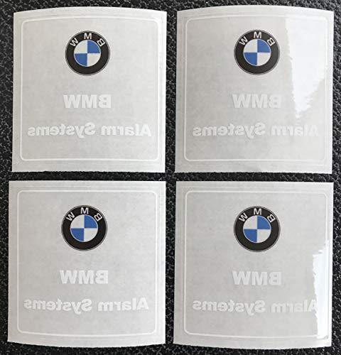 4X BMW Security System Aufkleber Set für Scheiben 50x50 mm | DIEBSTAHLSCHUTZ Alarm ALARMANLAGE Secure Anti Theft Sticker Set Auto KFZ PKW BMW M X Z i3 i8 1er 2er 3er 4er 5er 6er 7er 8er