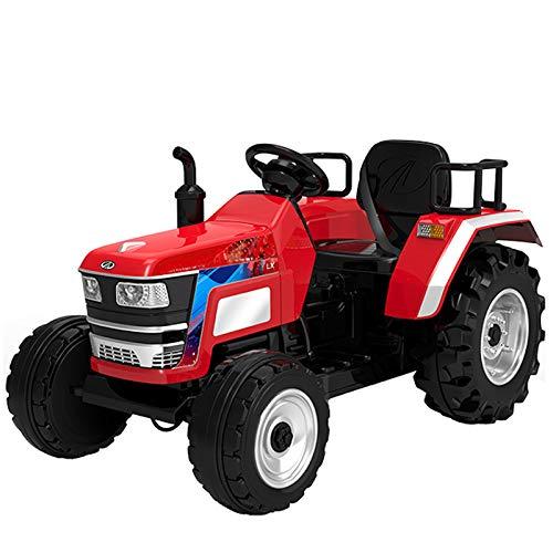 ES-TOYS Coche eléctrico para niños – Tractor eléctrico grande – batería 12 V 7 A, 2 motores de 35 W con control remoto de 2,4 GHz (rojo)