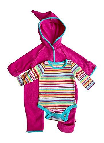 Baby Girl Hooded Fleece Bodysuit Elf Romper with Fold Over Cuffs & Long Sleeve Snap Onesie Set (Fuschia, 6 Months)