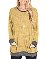 LILBETTER Women's Long Sleeve O-Neck Patchwork Casual Loose T-Shirts Blouse Tunic Tops(Yellow,Small)