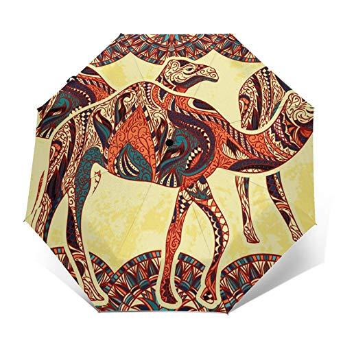 Paraguas Plegable Automático Impermeable Llama Decorada Oriental, Paraguas De Viaje Compacto a Prueba De Viento, Folding Umbrella, Dosel Reforzado, Mango Ergonómico